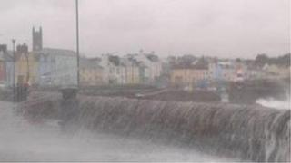Donaghadee seafront took a battering on Monday evening