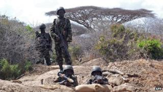 Kenyan Defence Force (KDF) soldiers man their position on the outskirts of the town of Tabda (file photo)