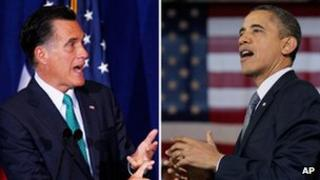 Combination picture of Mitt Romney and Barack Obama