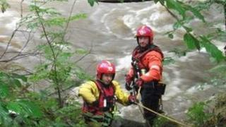 Firefighters at the River Irwell