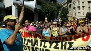 Anti-austerity protesters in Athens 26 September