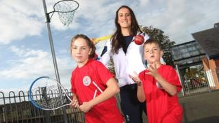 Olympian Georgia Davies joined pupils at Laugharne Primary School in Carmarthenshire to launch Dragon Multi-Skills and Sport