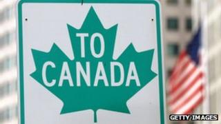 A Canadian border crossing sign