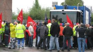 Bin workers on strike