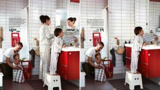 A composite picture taken from the Saudi and English versions of the Ikea catalogue