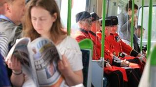 Chelsea Pensioners on a bus