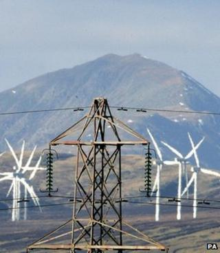 Electricity pylon and wind turbines (Image: PA)
