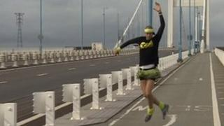 Ben Hammond dancing across the Second Severn Crossing