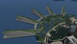 Screenshot of Betaville showing Liberty Piers