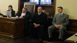 Paolo Gabriele (first from right) in court at the Vatican, 29 September