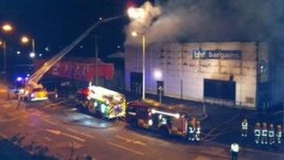 fire at BHF Bargains, Newtownabbey