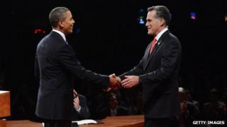The two candidates shaking hands