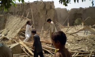 Remains of a destroyed house in South Waziristan
