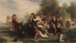 Thomas Webster, Football Game 1839, oil on canvas, National Football Museum
