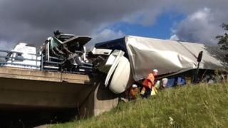The lorry left the road at the A19 Flyover