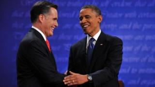 President Barack Obama with Gov Mitt Romney after their first debate (4 Oct 2012)