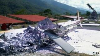One of the three helicopters burnt down in a rebel attack in Peru