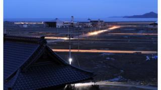 Rikuzentakata city at night, in Iwate prefecture on March 11, 2012