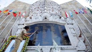 File photo: Monument for Bali bombing victims in Bali, 12 October 2011