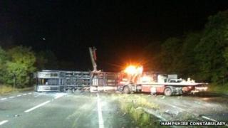 Police picture of A34 vehicle transporter crash