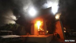 The US consulate in flames in Benghazi, Libya 11 September 2012