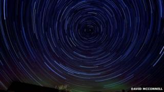 The aurora borealis crept into David McConnell's star trail project