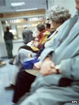 Elderly couple in hospital waiting room