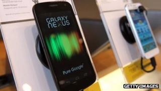 Samsung Galaxy Nexus phone on display