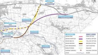 Route options map for Bontnewydd bypass
