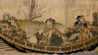 Woodblock print: Liu Bei (Gentoku), Guan Yu (Uncho), and Zhang Fei (Yokutoku), being punted down river by one of their three boy attendants, with wine and books on board