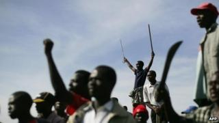 Members of the Luo tribe during election clashes in the town of Nakuru in January 2008