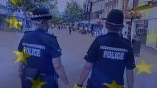 Police under an EU flag
