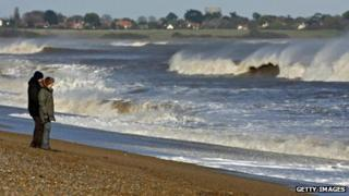 Windy day on Dunwich beach in Suffolk