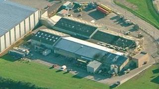 Aerial shot of McCain Foods factory in Hull
