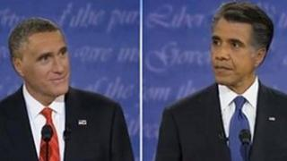 Romney with Obama's hair; Obama with Romney's
