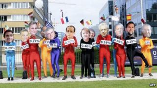 Activists disguised as European leaders