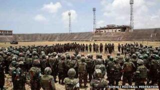 African Union troops at Mogadishu Stadium