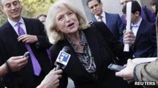 Edith Windsor speaks to reporters in New York 27 September 2012