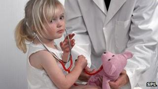 Child being examined