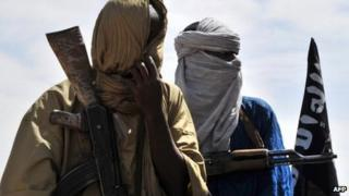 Two Islamist policemen pictured in Gao, northern Mali, in July 2012