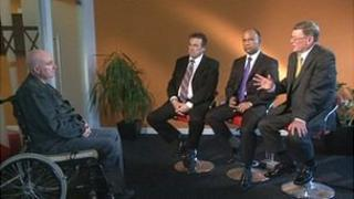 Police commissioner candidates face questions from a victim of crime