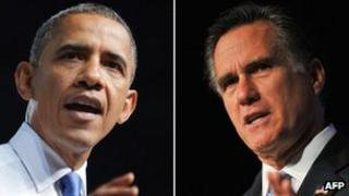 Barack Obama and Mitt Romney combination picture