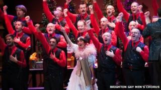 June Brown with the Brighton Gay Men's Chorus in December 2011