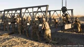 Military bridge building