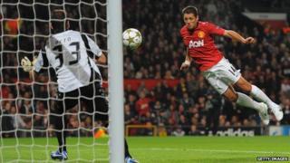 Man Utd player Javier Hernandez heading in a goal in match against Braga.
