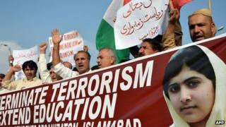 Demonstration against the attempted murder of Malala Yousafzai in Islamabad