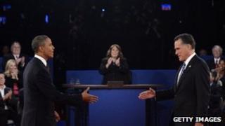 Barack Obama and Mitt Romney at the Hofstra debate 16 October 2012