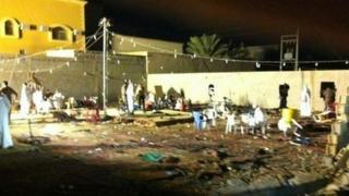 Photograph posted online purportedly showing aftermath of fire at wedding in Abqaiq, Saudi Arabia (31 October 2012)
