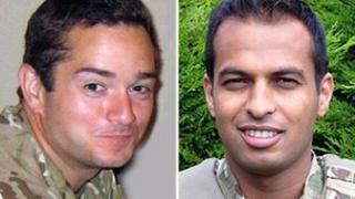 Lt Edward Drummond-Baxter (left) and L/Cpl Siddhanta Kunwar
