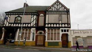 The boarded up Bell And Bear pub in Shelton, Stoke-on-Trent